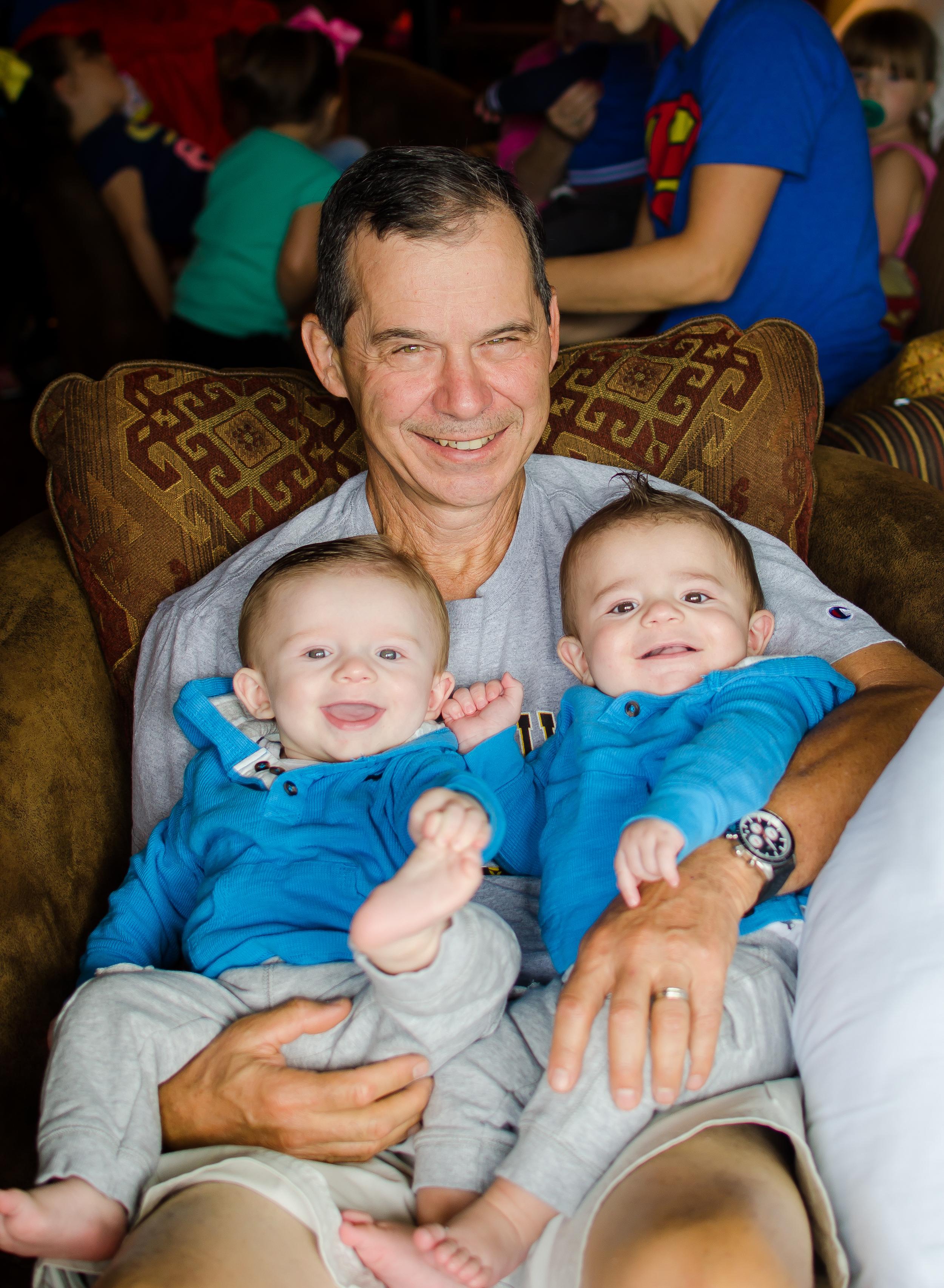 tom cardinal with grandson twins cason and calon