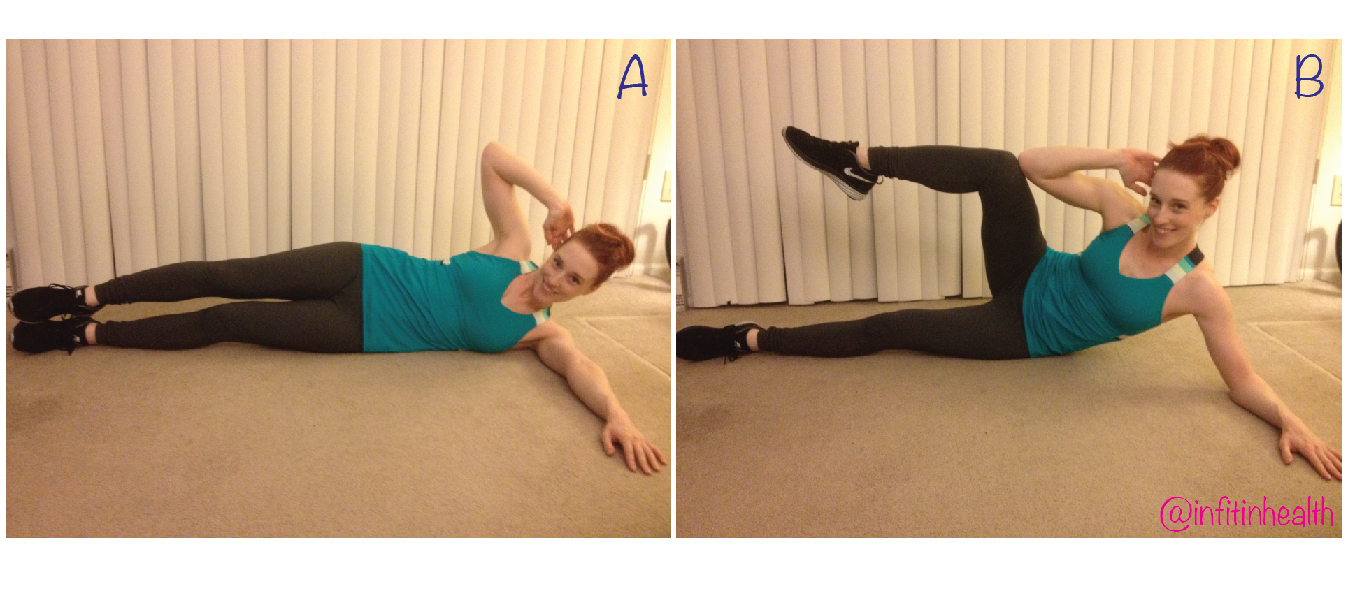 Option 1: lowintensity- bring your top elbow to your top knee, keeping one leg on the ground.