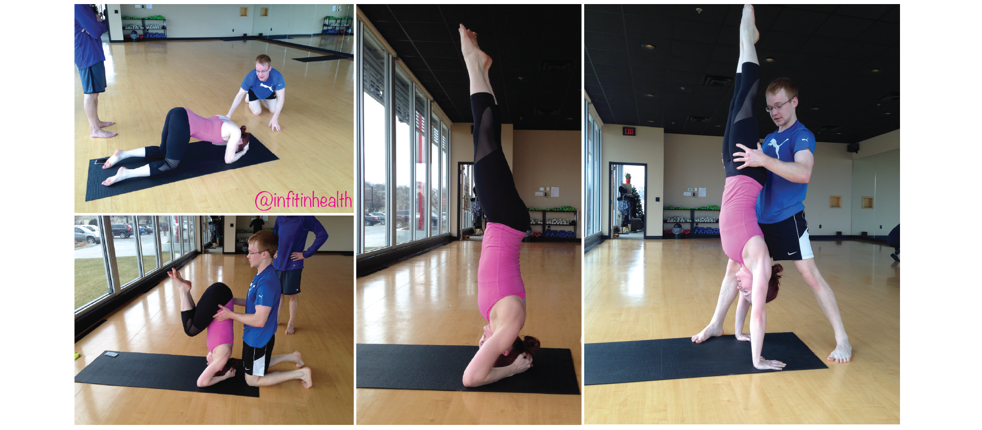 Left &  Middle:  Headstand Progression;  Right : handstand, spotted