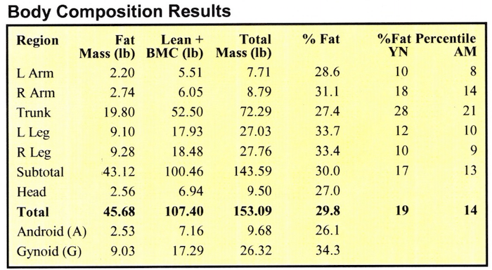 DEXA Body Composition Results