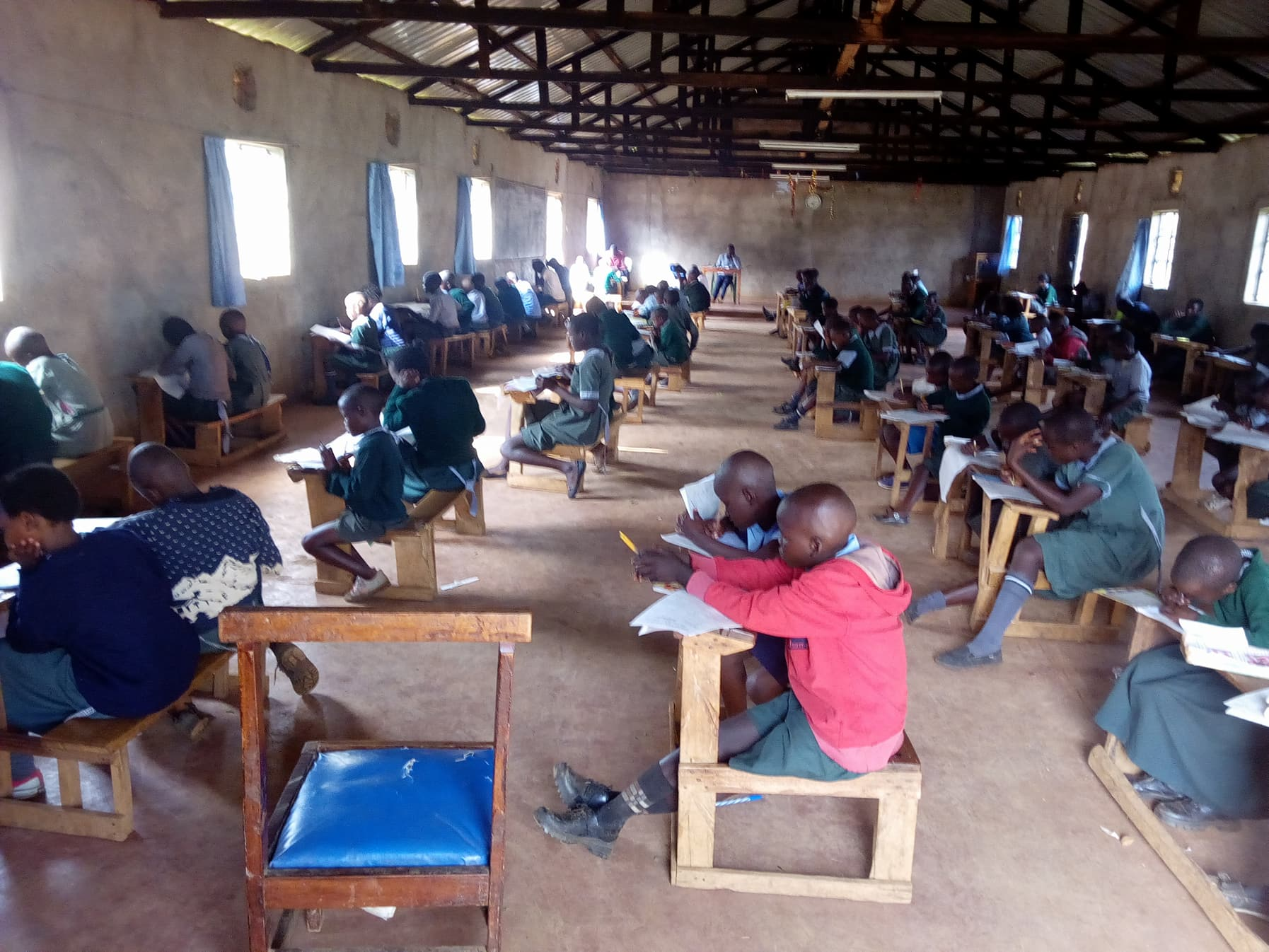 Christ Care Academy students diligently taking their first semester continuous exams