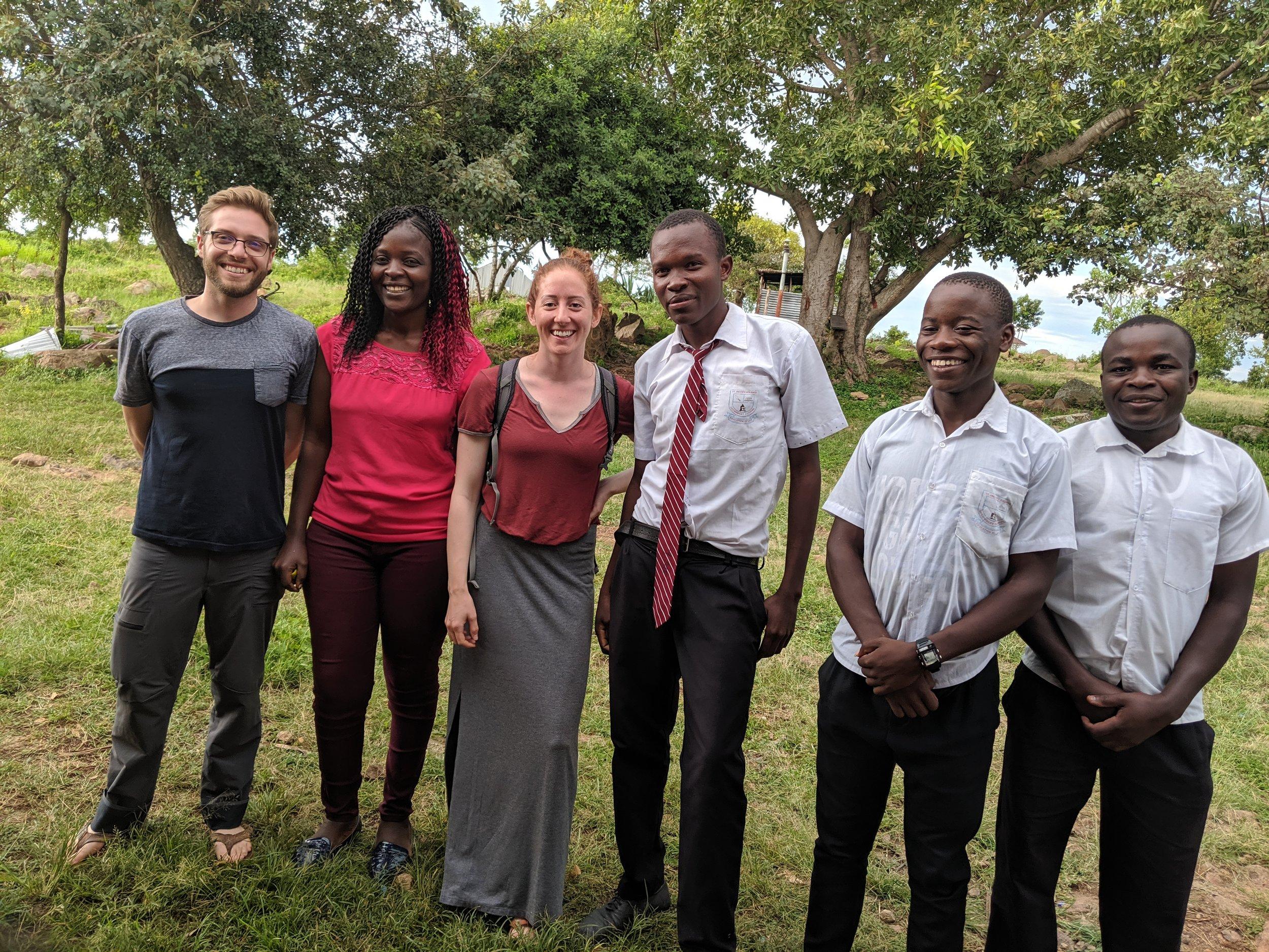 2019-05 L to R JWittel MaryAnne Omendah KWittel James Omolo Alvin Mkanji Jacob Kayaga at St Jacob Kolanya Mixed Secondary School.jpg