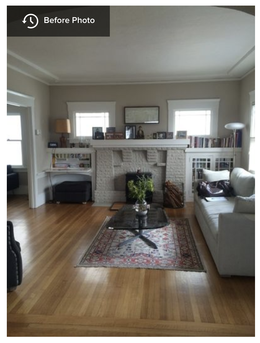 A White and Gray Paint Scheme Brightens a New Living Room Layout -