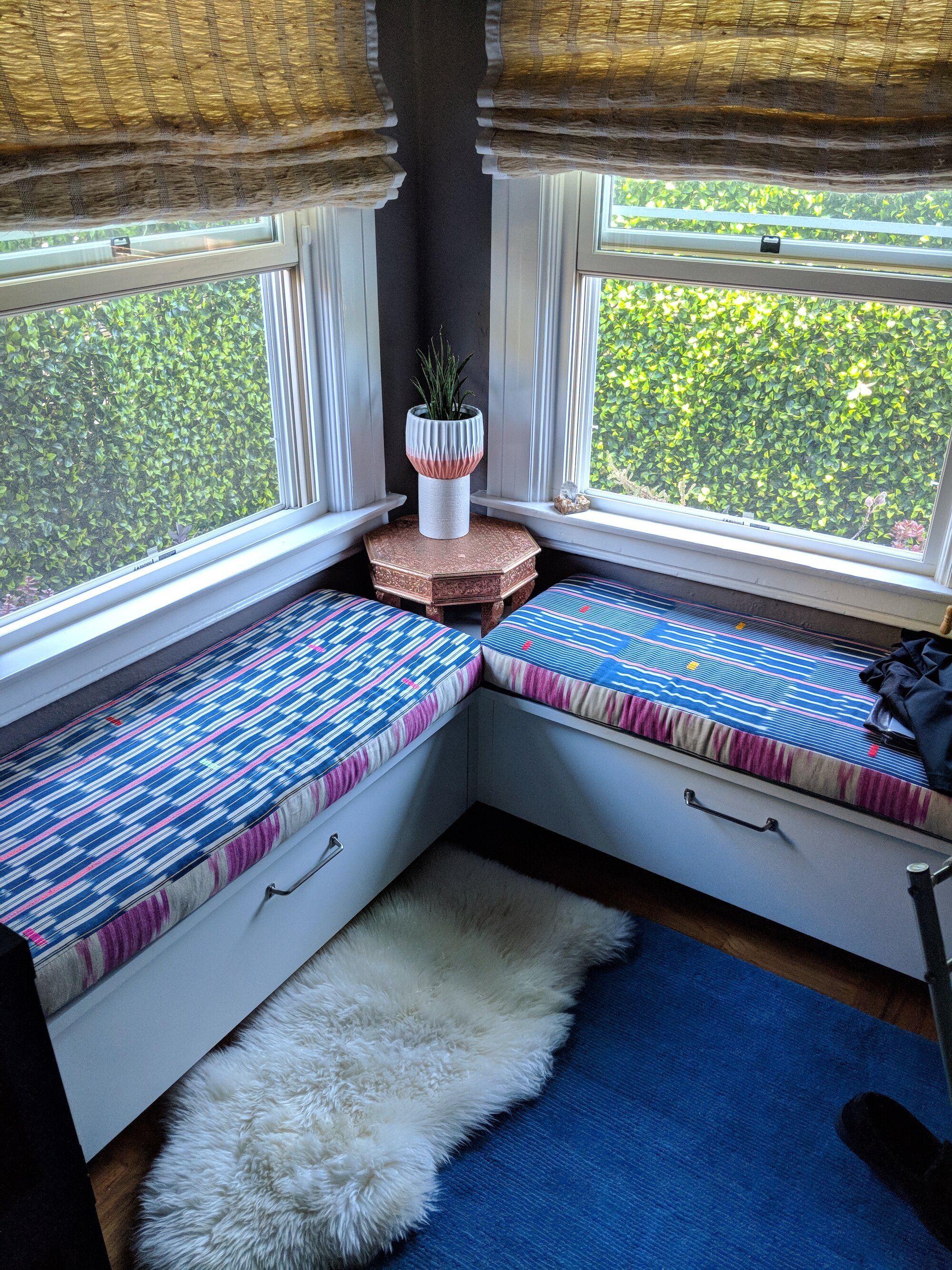 Builtin Corner Bench + custom cushions