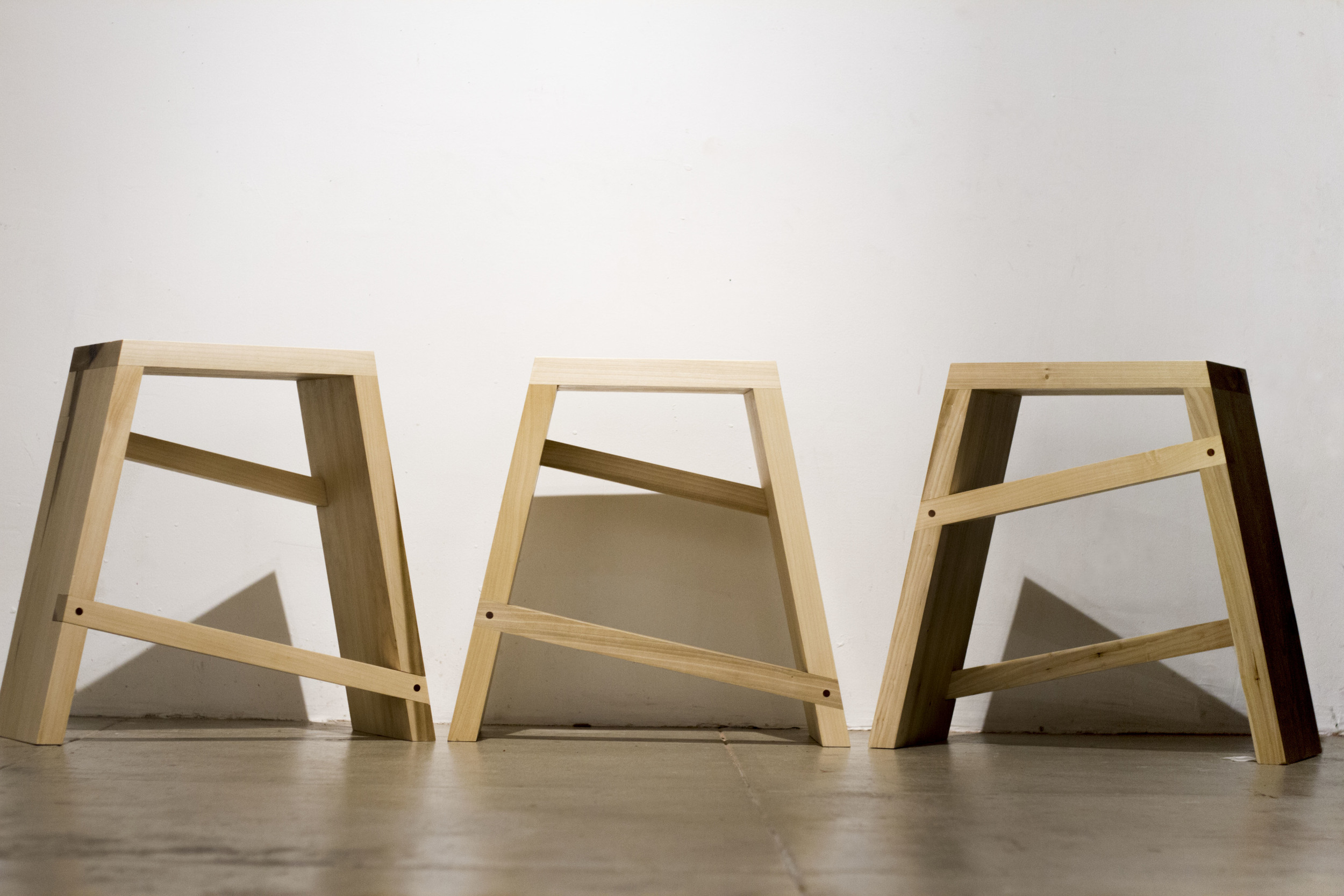 Stool Set-Poplar. 2013.  This set of 3 stools was designed and built for the new studio art building at Pomona College.