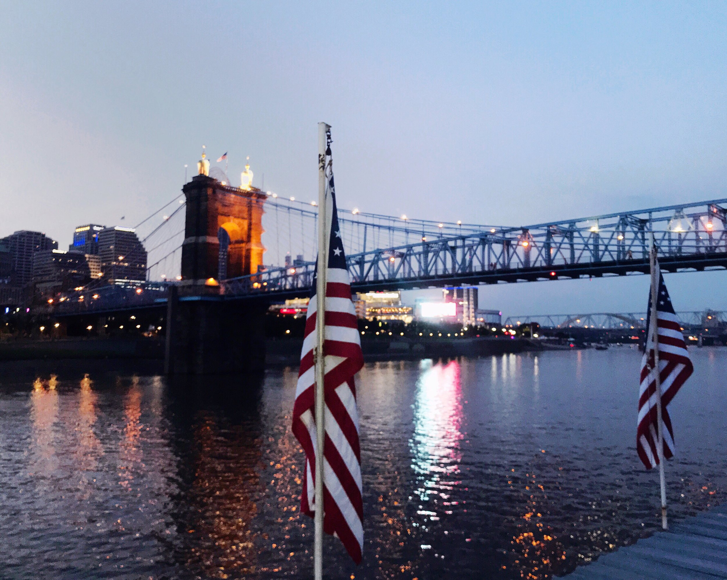 Cincinnati John A. Roebling Suspension Bridge Fourth of July | TetherAndFly.com