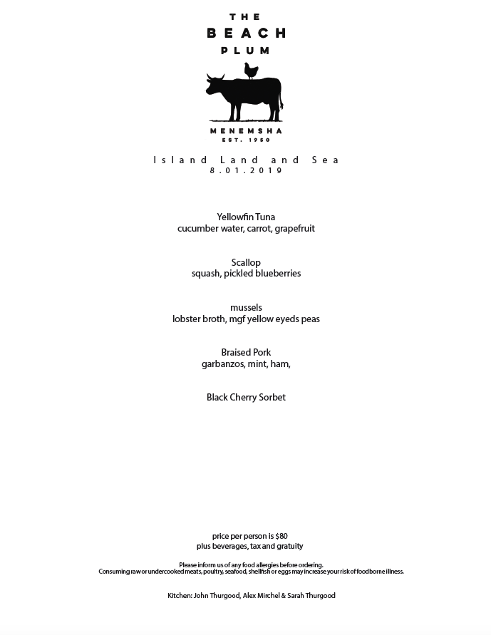 8.1.2019 Dinner Menu Thursday