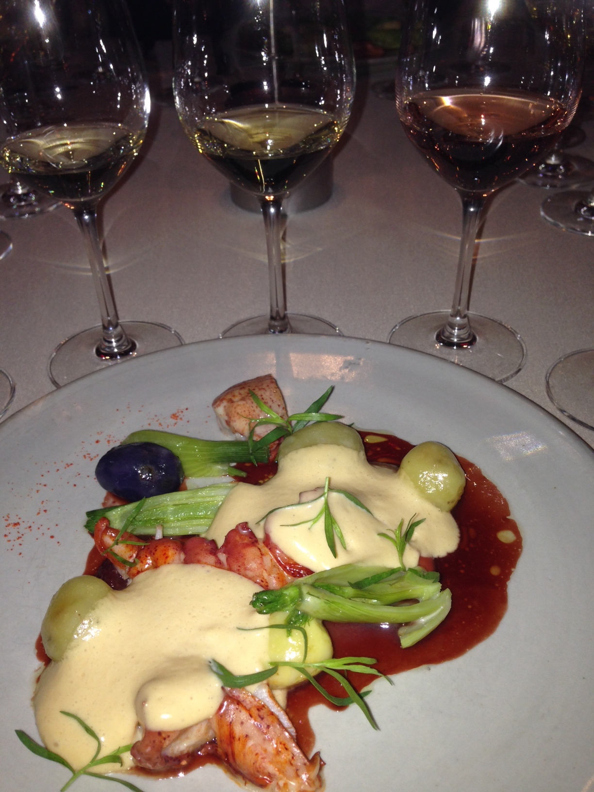 Lobster with citrus foam and FIVE glasses of Alfred Gratien Champagne at Betony, NYC.