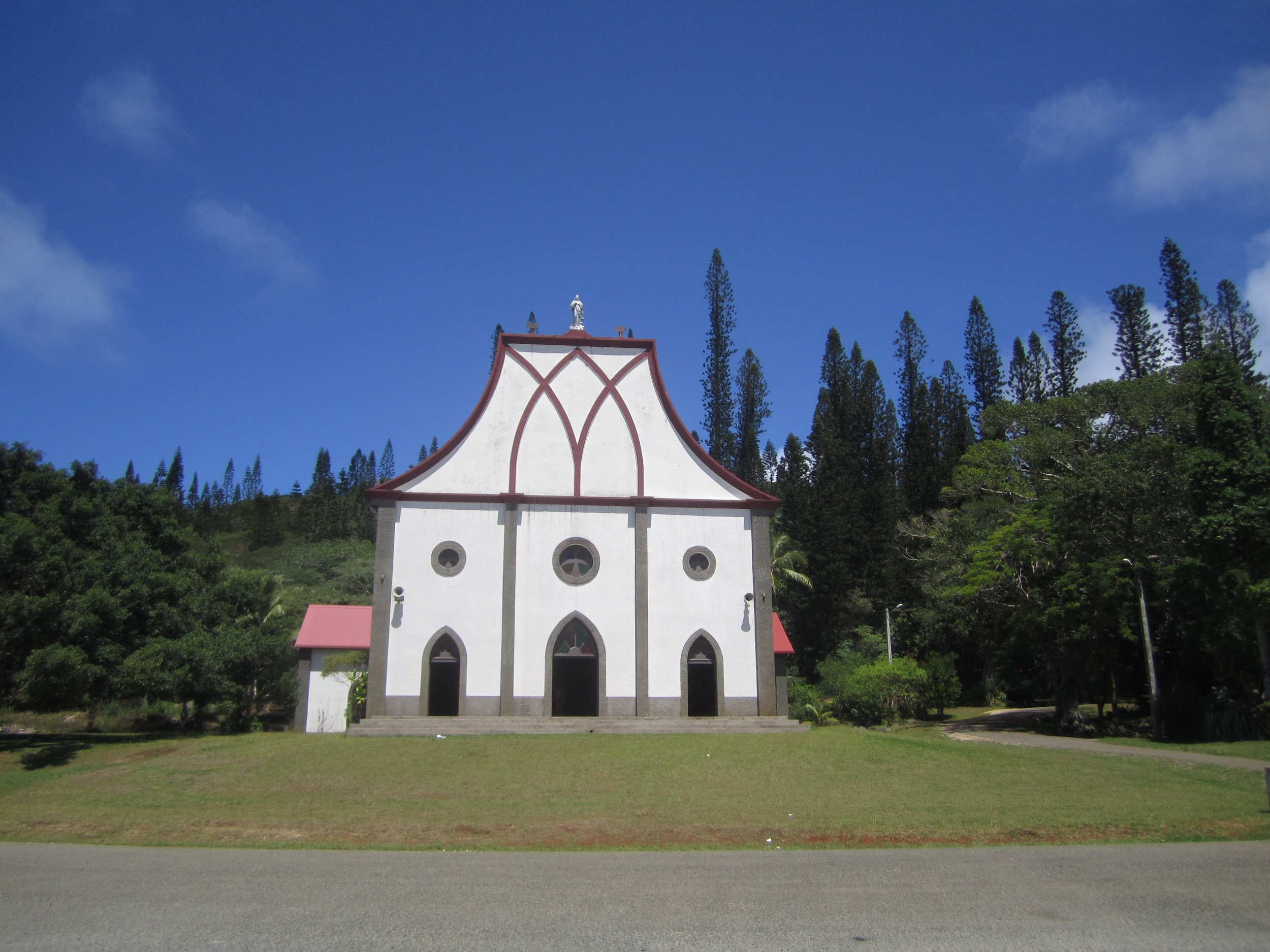 The beautiful Catholic church in the village of Vao, Ile des Pins, offered a cool, shady resting place during a long bicycle ride.