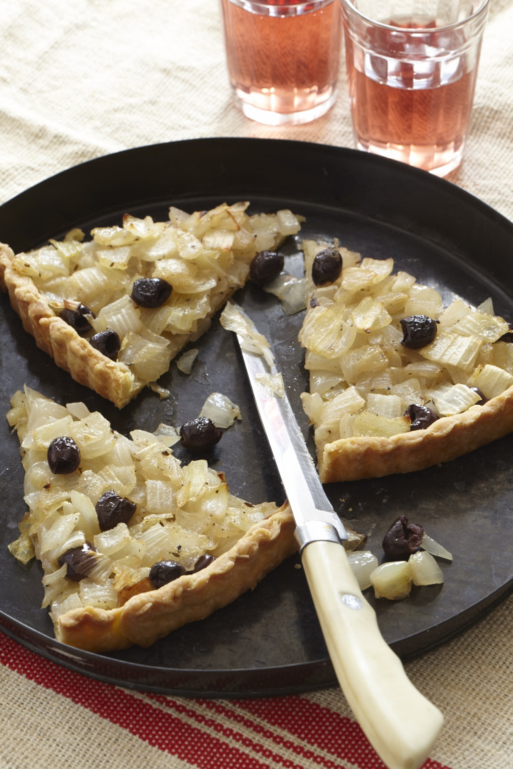 Provençal Black Olive and Onion Tart. Photo by Frances Janisch for The Fire Island Cookbook