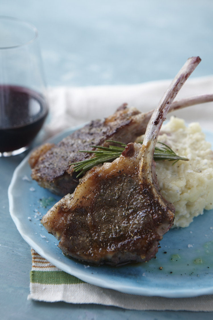 Herbes de Provence Lamb Chops Over Bleu Cheese Mashed Potatoes Photo by Frances Janisch