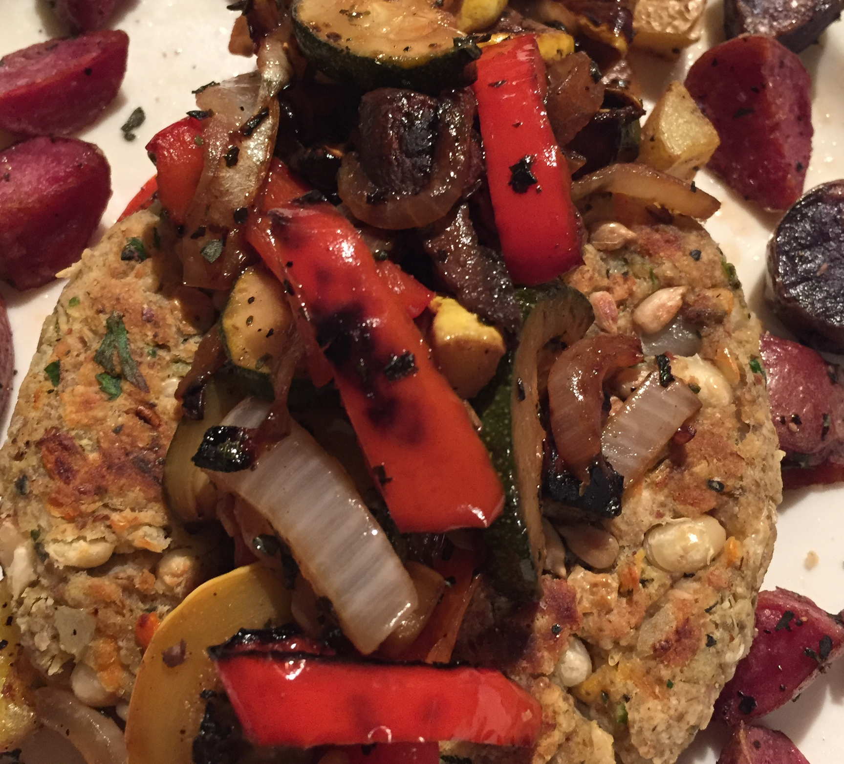 Veggie Burger, Grilled Veggies and Oven Roasted Herbed Potatoes