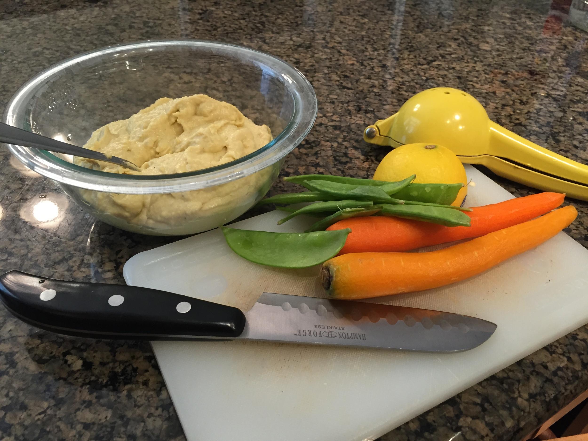 Roasted Garlic Hummus and veggies