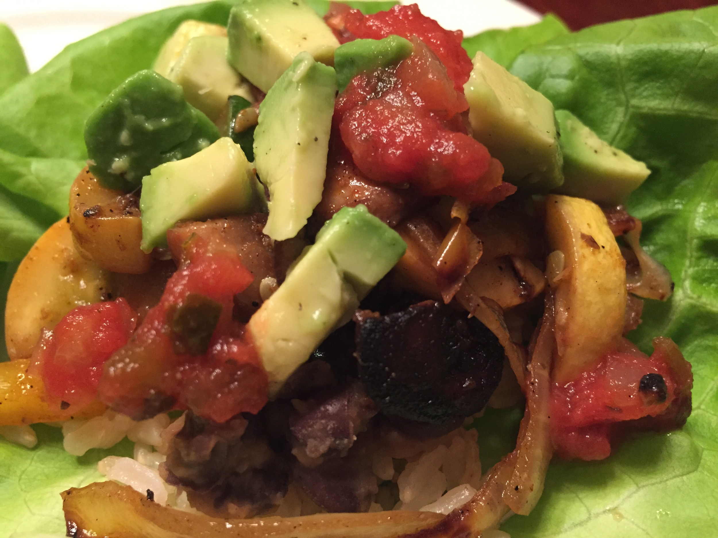 Grilled Veggie Fajitas with Re-Fried Black Beans