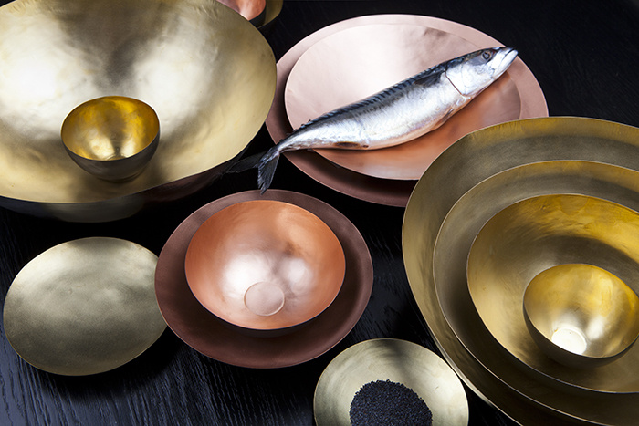 Just because we love metallics . . .    New set of bowls'Form' by Tom Dixon