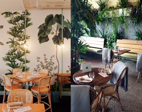 With French-colonial inspired interiors,  The Butler  on Victoria Street in Potts Point has seamlessly integrated the exterior green wall with the interior wall coverings, creating a lush, green restaurant and bar space that frames the panoramic view of Woolloomooloo and the CBD.