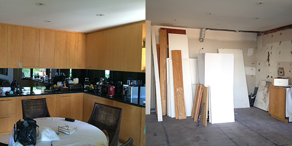 The kitchen before and after demolition.
