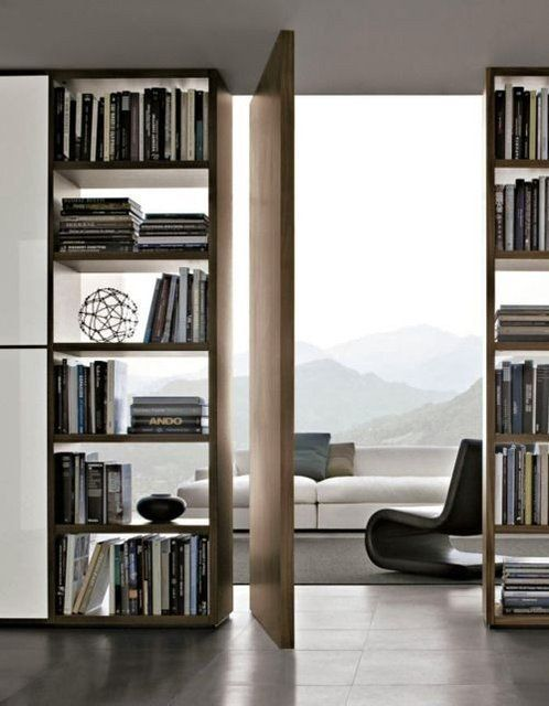 Open shelving with stacked books and objet create a pretty and practical solution.