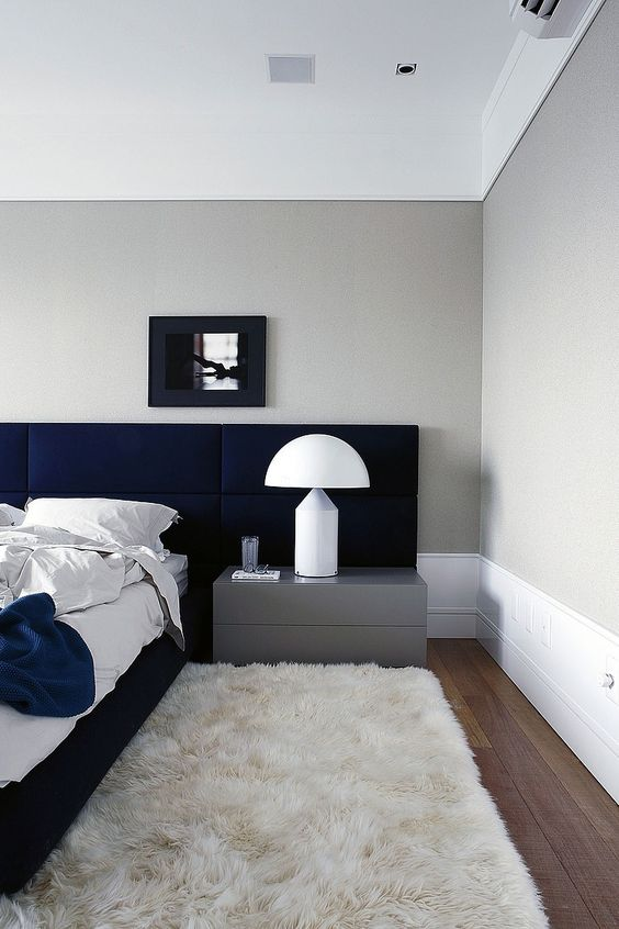 For a more sleek contemporary version, a sophisticated low profile in delicious indigo velvet will do just the trick!