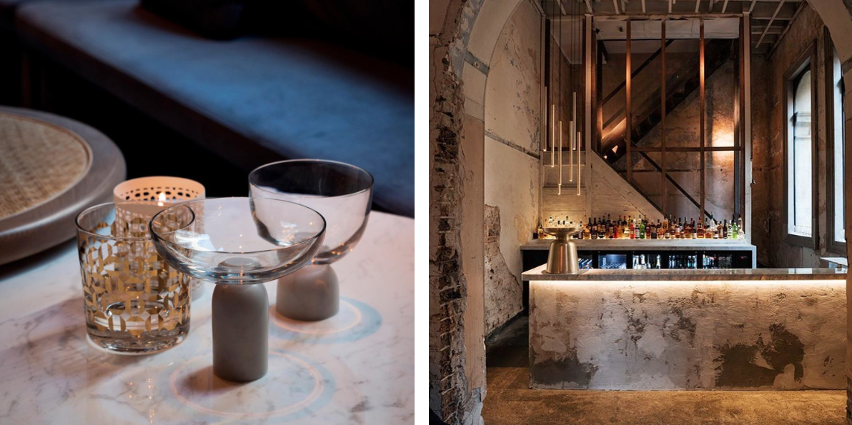 Glassware designed by London based designer Lee Broom is a contemporary take on a traditional champagne saucer. The texture of the bar is highlighted with glowing LED lighting.