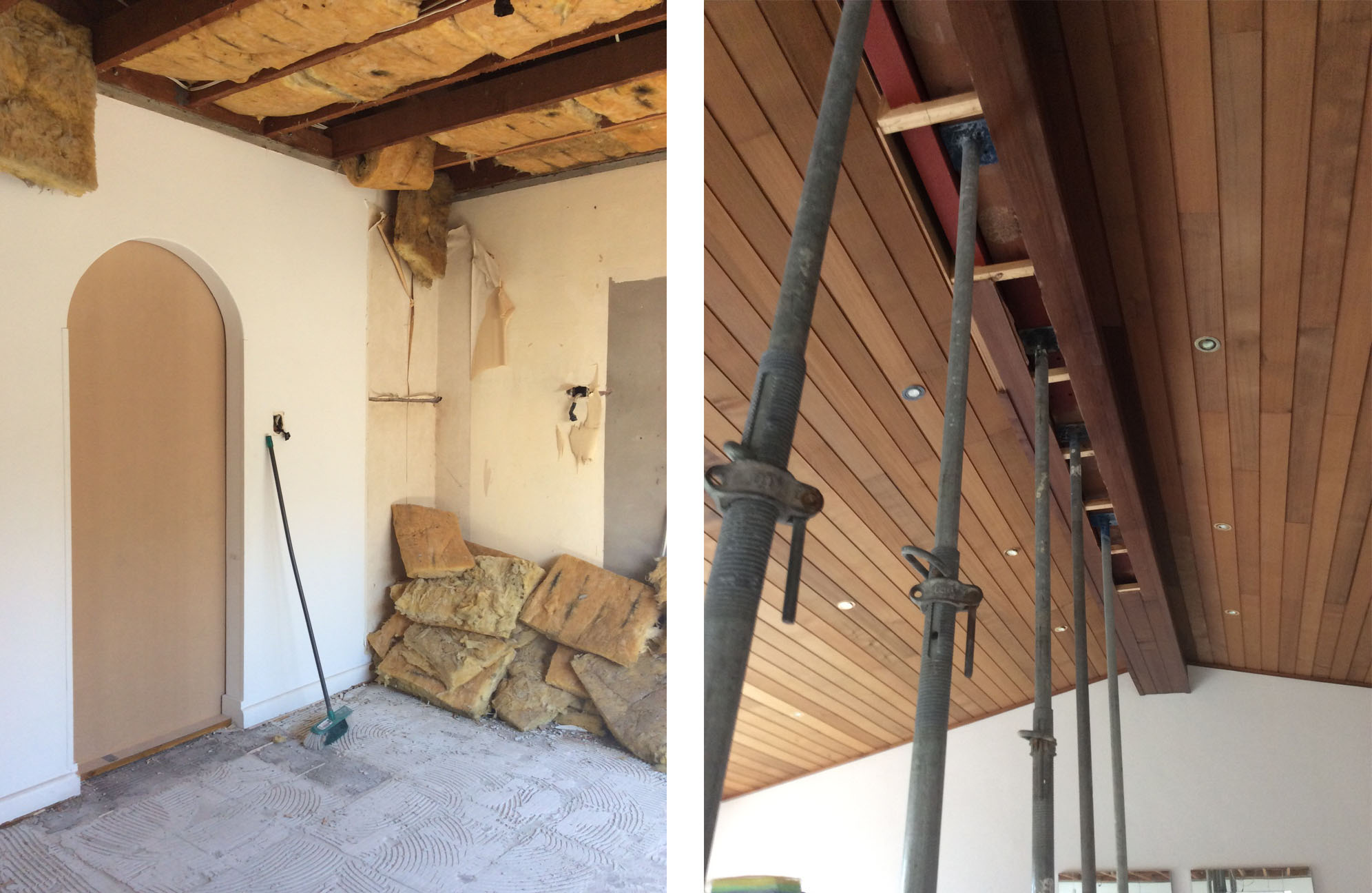 The dated arches will soon be a thing of the past. Supports will be installed to quite literally hold up the roof whilst the walls are safely removed to make way for a new structural steel beam.