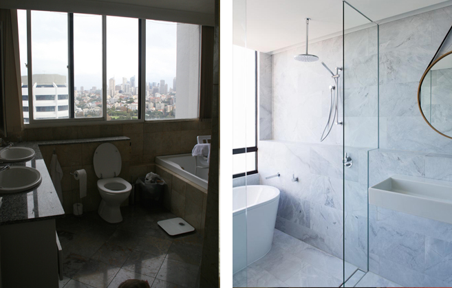 The bathroom at  EASTBOURNE ROAD  has been transformed into a space of absolute marble magic with a bath tub in which to relax and enjoy the panoramic views of the Sydney CBD.