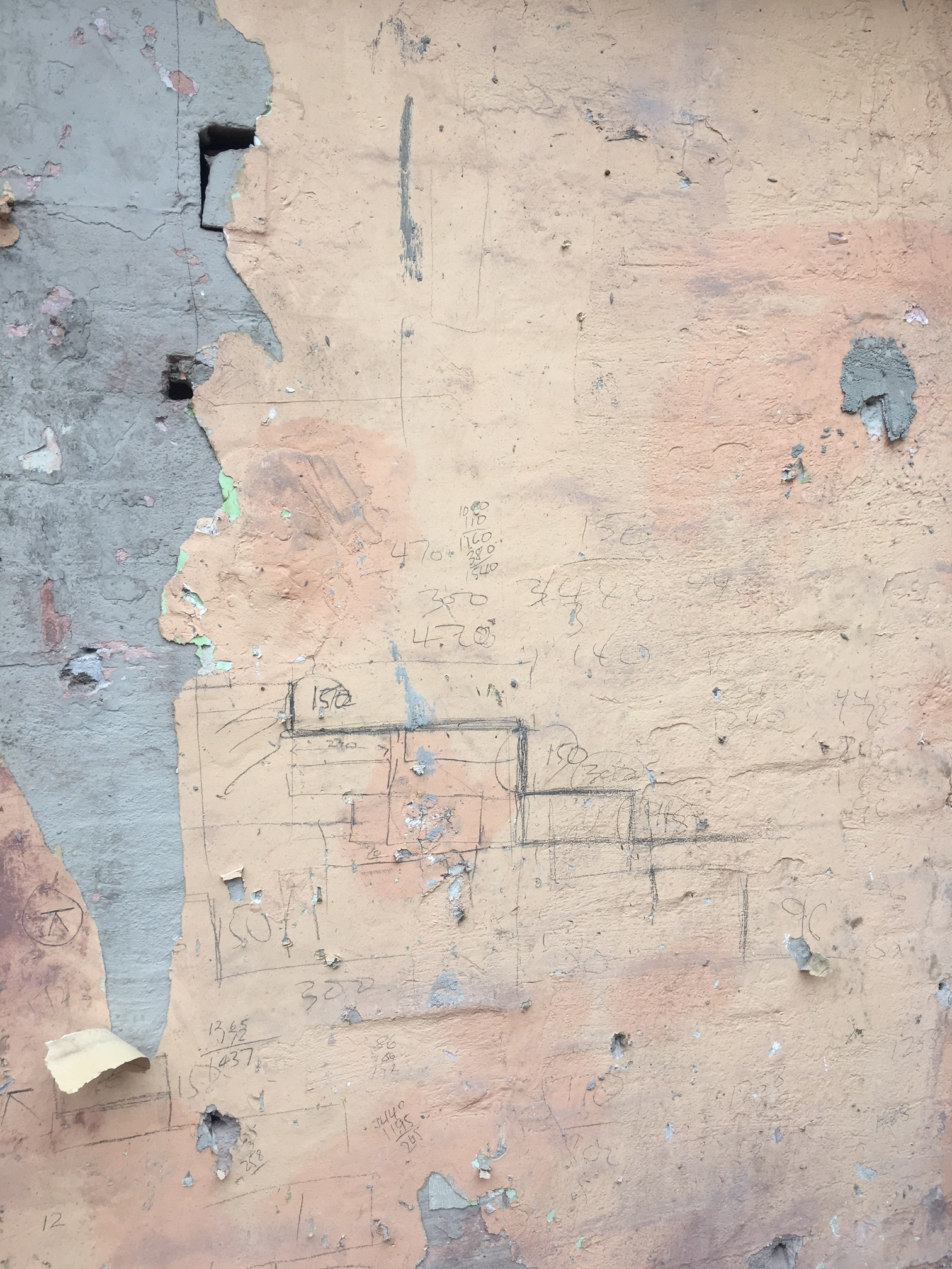 The builders  uncovered some original construction sketches hidden behind a gyprock panel.