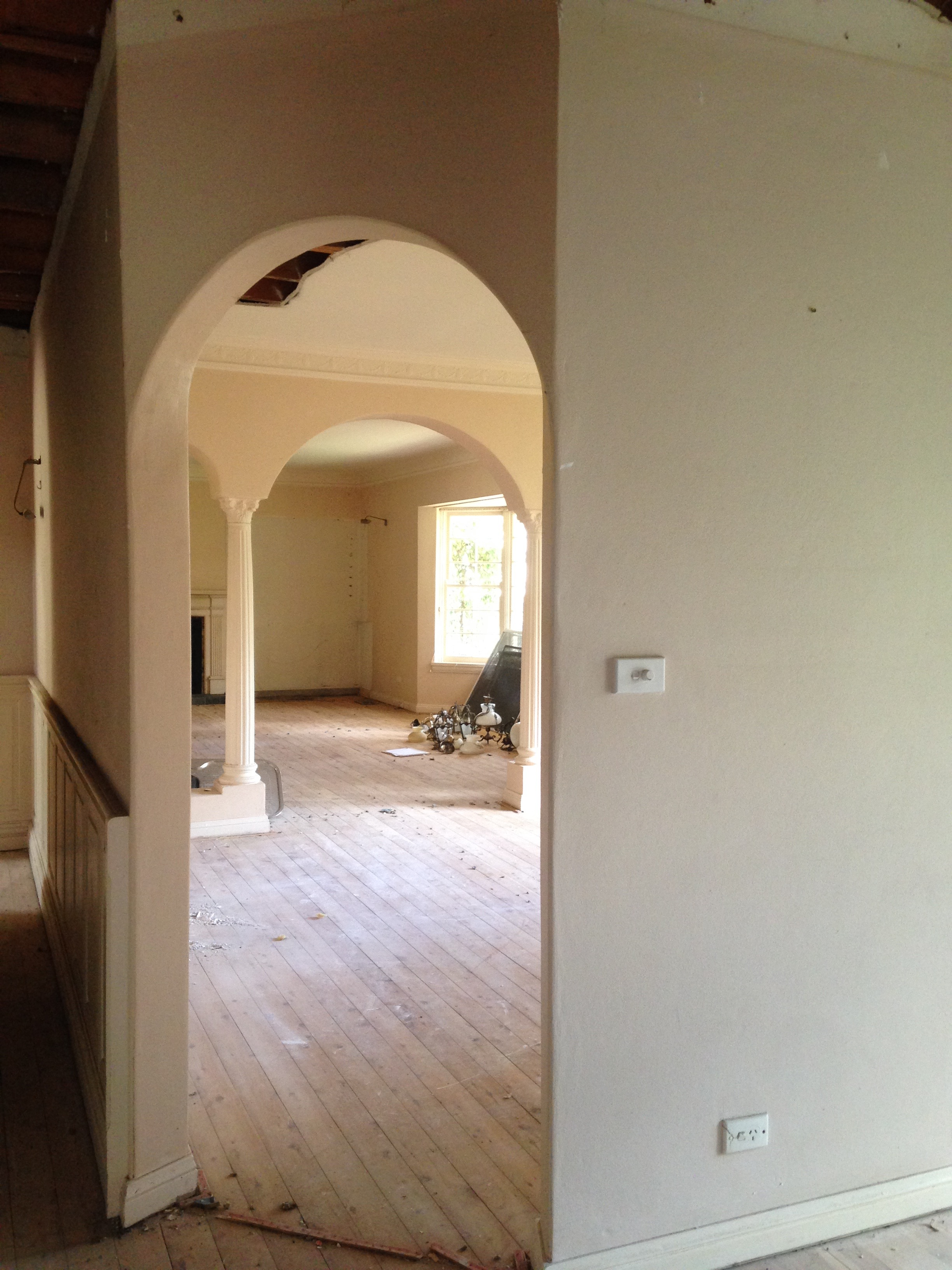 The arches are a consistent element throughout the spaces and will play an important role in our overall design.