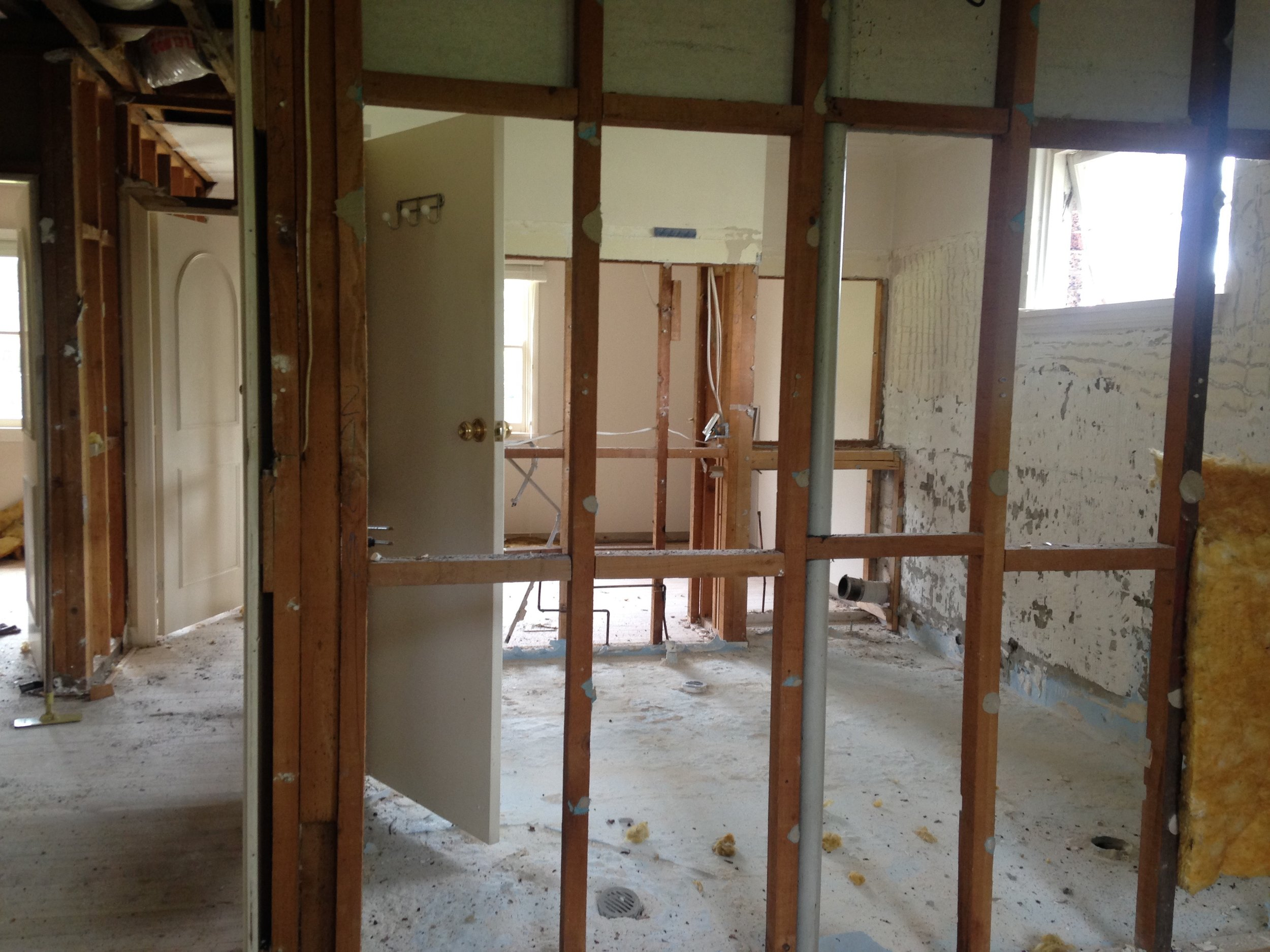 It's a timber stud forest on the first floor as we are moving most of the walls, including the removal of a smaller bedroom to increase the size of the master bedroom and reconfigure the remaining bedrooms and bathroom.