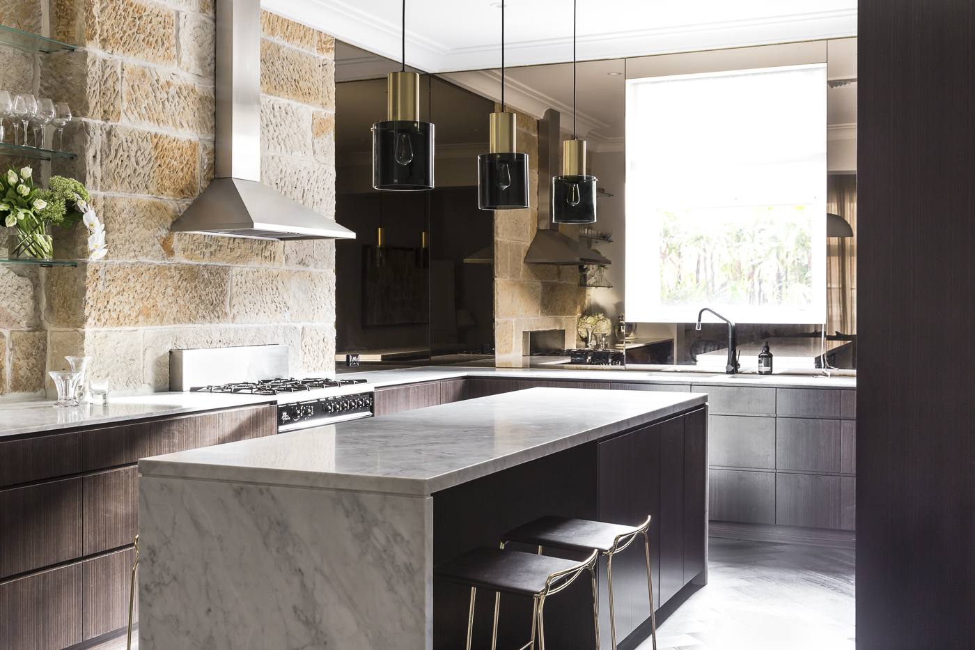 The sandstone, once revealed and celebrated,became a warm feature adding another layer of texture to the home.