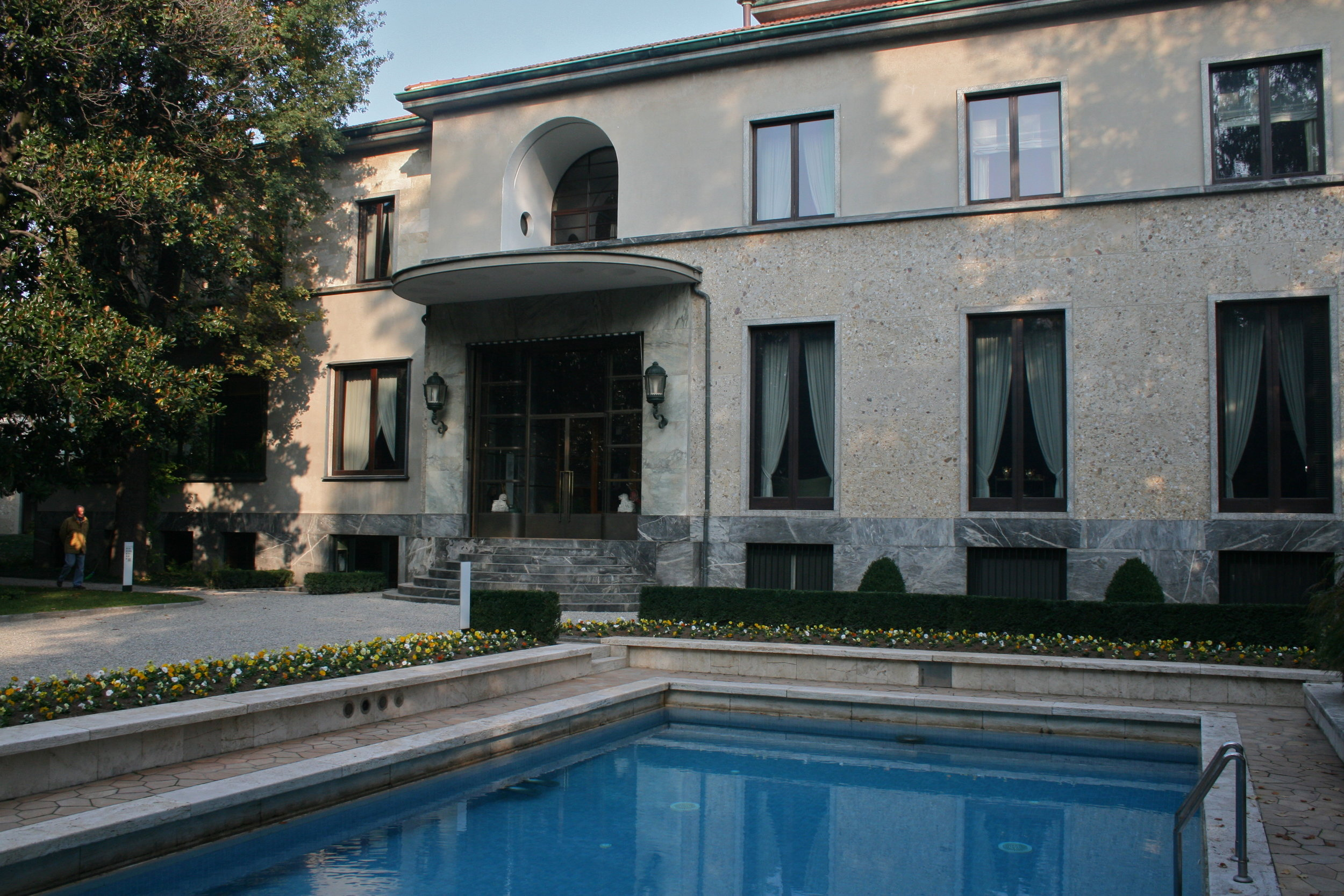 The stunning Villa Necchi Campiglio sets a luxuriously dramatic scene for the ravishing 2009 Italian production  I Am Love  directed by Luca Guadagnino and starring Tilda Swinton.