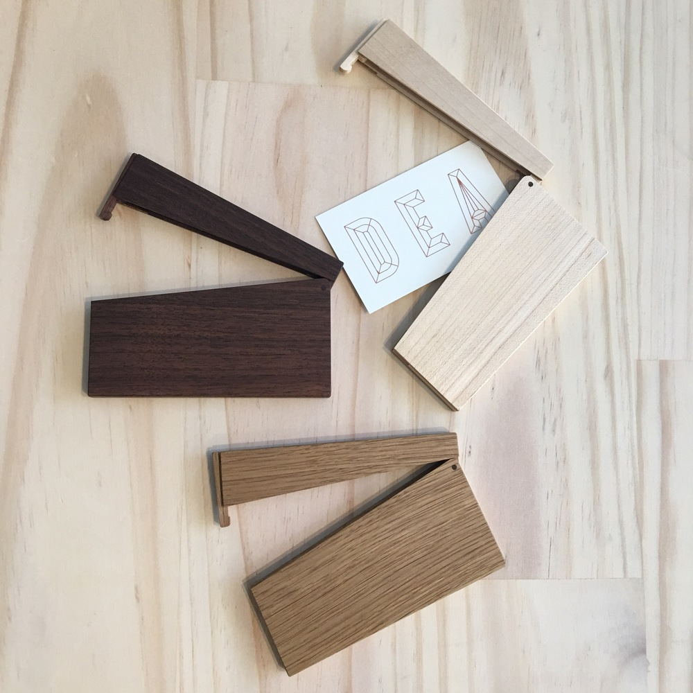 Hand crafted by Tanno Masakage, these exquisite  business card holders  are the perfect gift for the perfectionist Dad!Available in Oak, Maple and Walnut, the card holders are opened with a gentle Spring release in-built in the design.