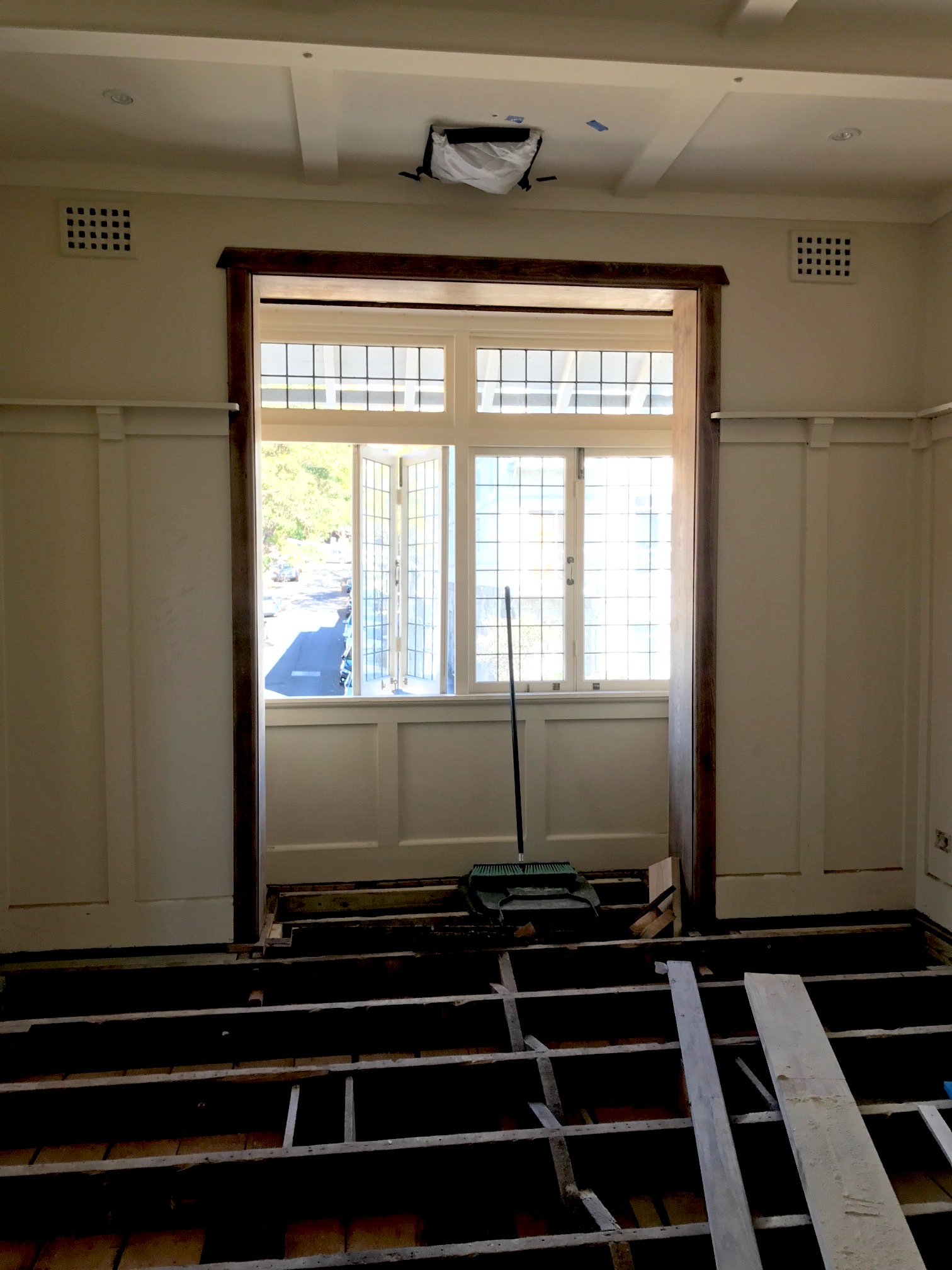 We will retain the existing panelling details but modernise with a fresh coat of paint throughout