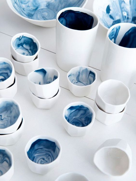 Create simple rituals such as sipping your tea slowly out of these gorgeous 'Gem Cups' by Australian ceramicist  Milly Dent  .