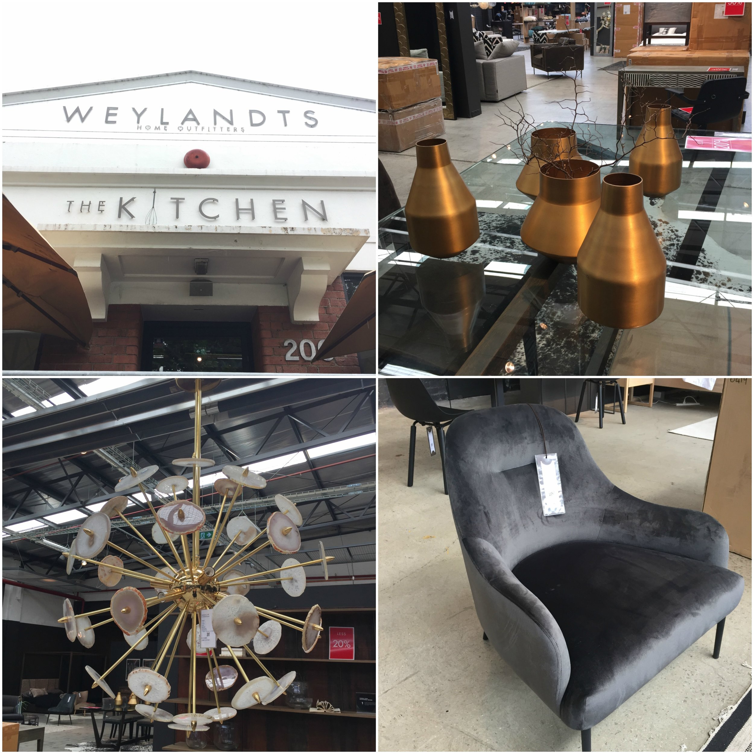 Our very first stop was Weylandts, where we wandered through their warehouse full of boho-chic furniture pieces and an eclectic selection of stunning lights.