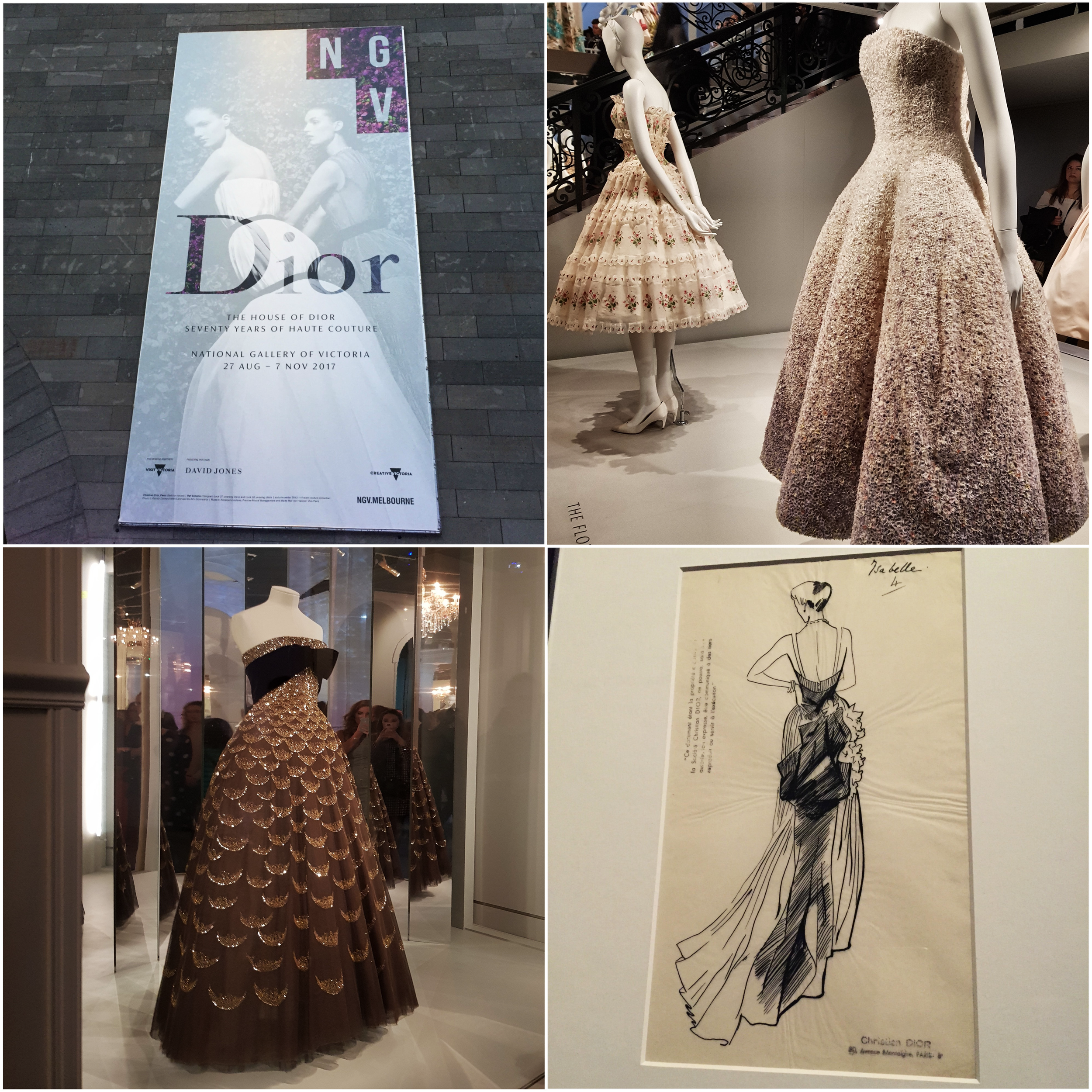 We finished our first frantic day with a sparkle in our eyes, enjoying the glittering Dior exhibition held at the National Gallery of Victoria.