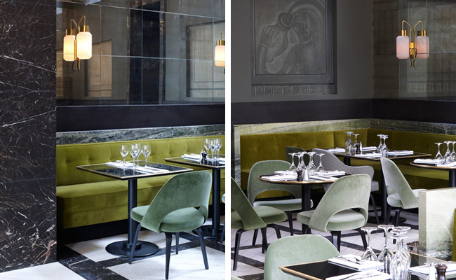 Monsieur Bleu at the Palais de Tokyo In Paris, France by French Architect  Joseph Dirand . Plush velvet upholstery adorns the space in shades of chartreuse and sage whilst the green marble used to frame the banquette seats fabulously echo these tones.