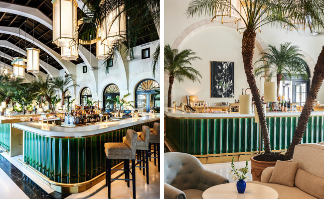 The Surf Club at the Four Seasons Hotel in Miami by  Joseph Dirand  with its faceted green bar is a showstopper! Lush palms generoulsy fill the space and create a tropical vibe.