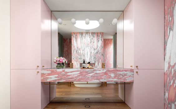 Demi's mum has always been bold with her colour palettes.  '  My most vivid memory is our salmon pink bathroom that mum designed while she was pregnant with me. The pink extended from the floor tiles, to the wall tiles and the vanity!'  recalls Demi. Interestingly, the use of pink in the home is having a huge revival . . . Demi always suspected her mum was ahead of the times and now she dreams of having her very own pink bathroom!