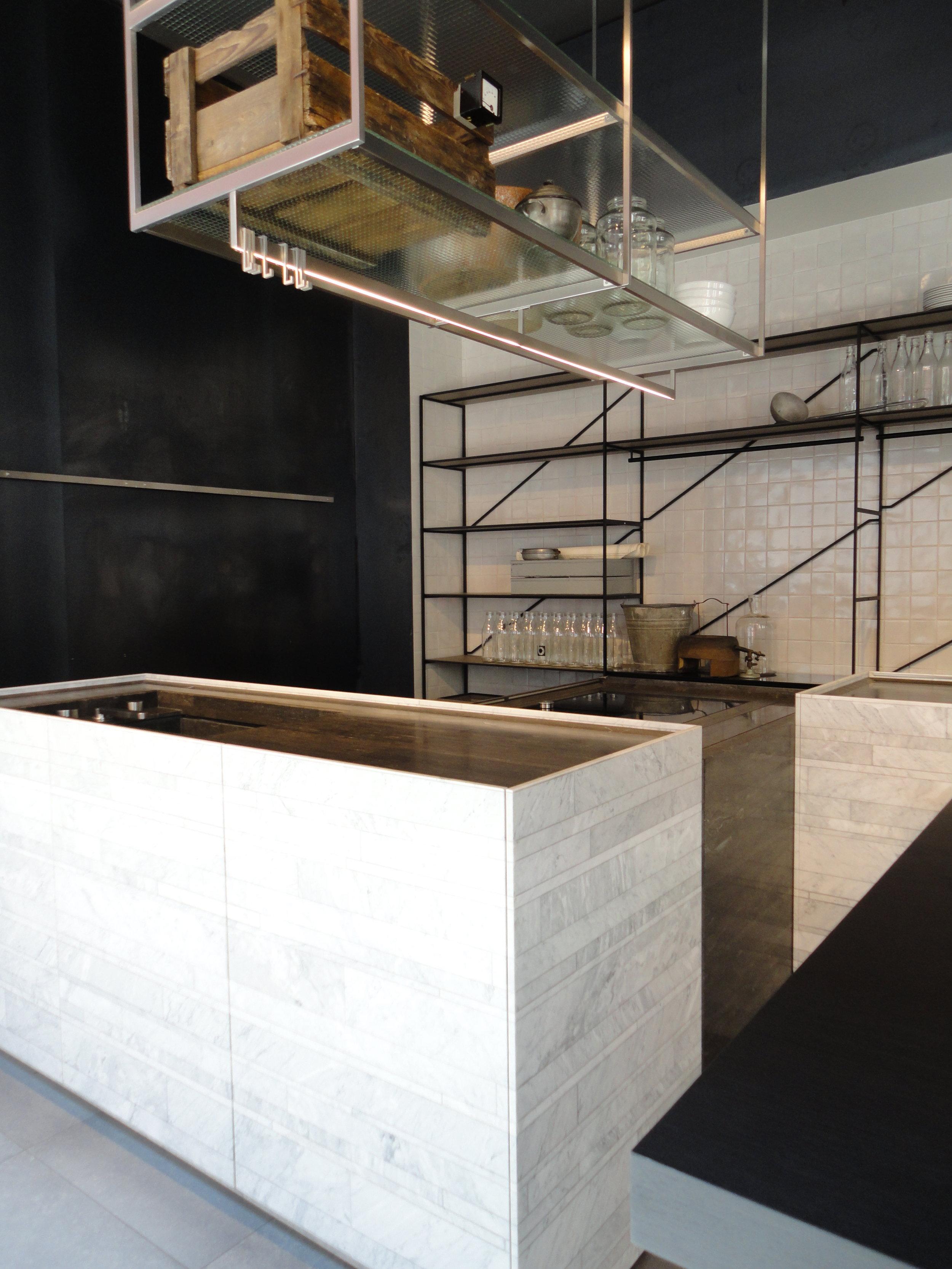 Piero Lissoni kitchen, featuring Salvatori marble clad doors