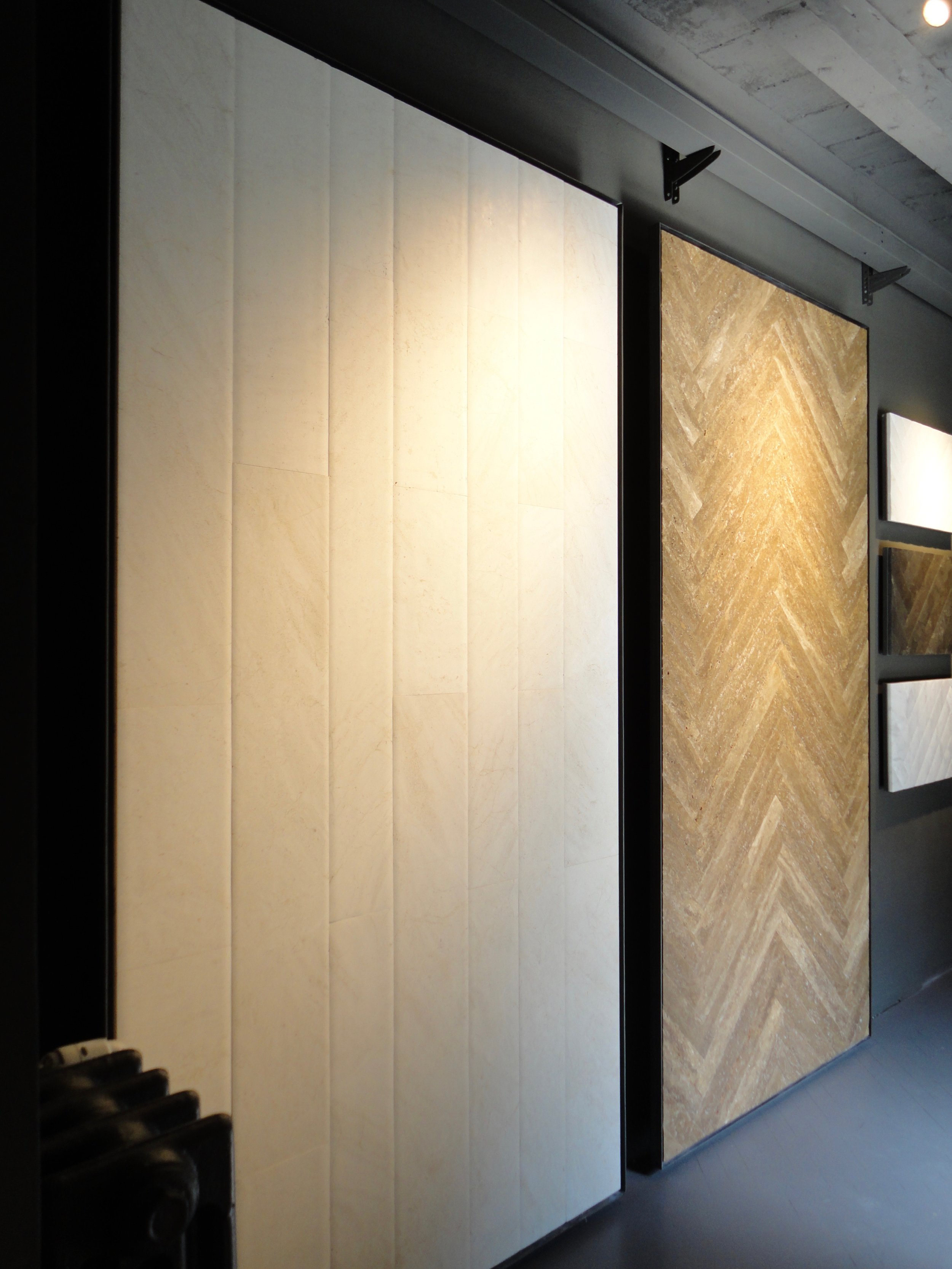 The new 'Stone Parquet' finishes on display at the Salvatori showroom