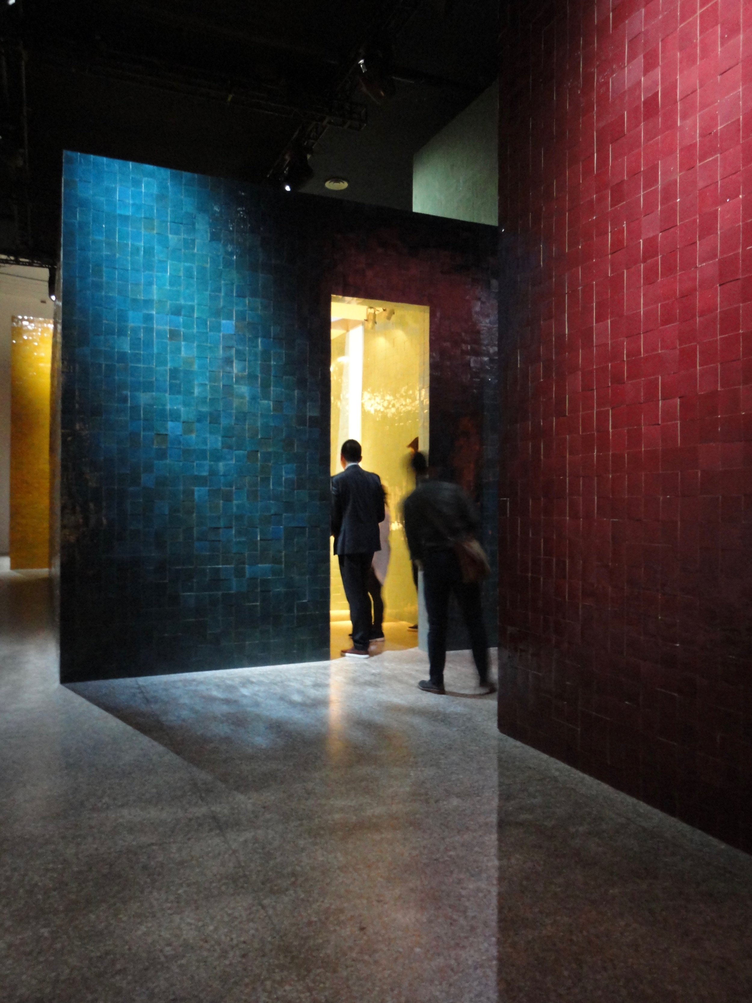 The glazed tiles at the Hermes display were gorgeously reflective