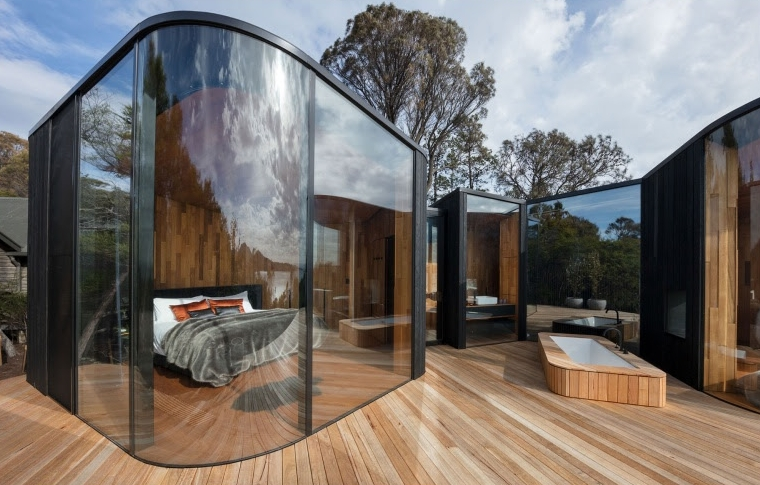 The nine pavilions at  Freycinet Lodge  have been inspired by the incredible natural landscape of the Apple Isle. A two and a half hour drive from Hobart, this getaway is a perfect escape for city folk wanting an ultimate winter wilderness weekender.