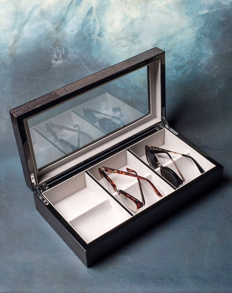 … and to store them in, this beautiful Black Apricot Veneer Sunglasses Box by  Becker Minty .