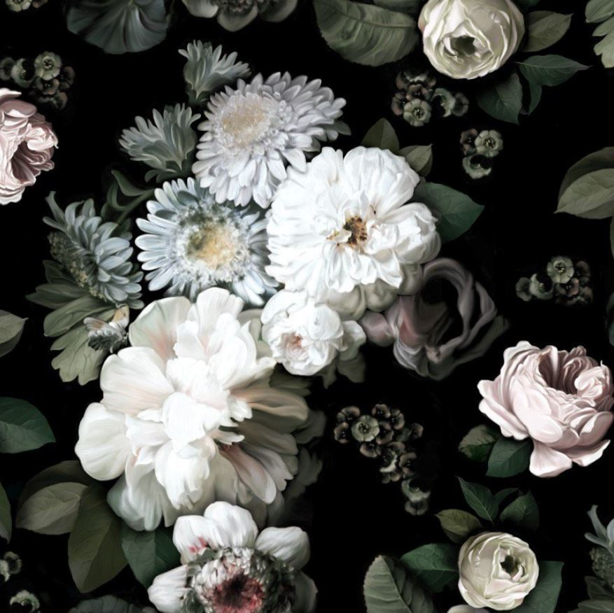 Proof that florals need not be sickly sweet, this dramatic, over-scale floral wallpaper is a majestic, moody nod to the spring trend.