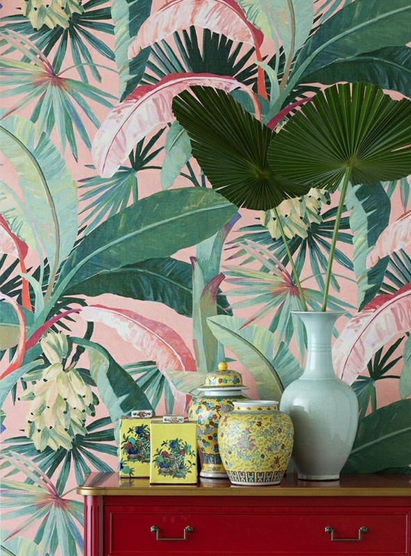 Not strictly a floral, but one for the more ambitious home decorators, this dramatic, tropical print will add playfulness to any room. We're imagining it covering the walls of a secret powder room!