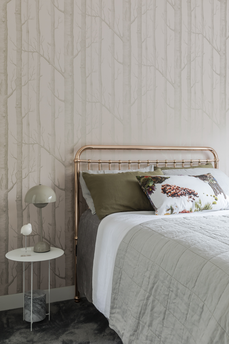 Playing with different patterns brings a sense of whimsy to the girl's bedroom in our    Raglan Street    project. Wallpaper by Cole and Son.