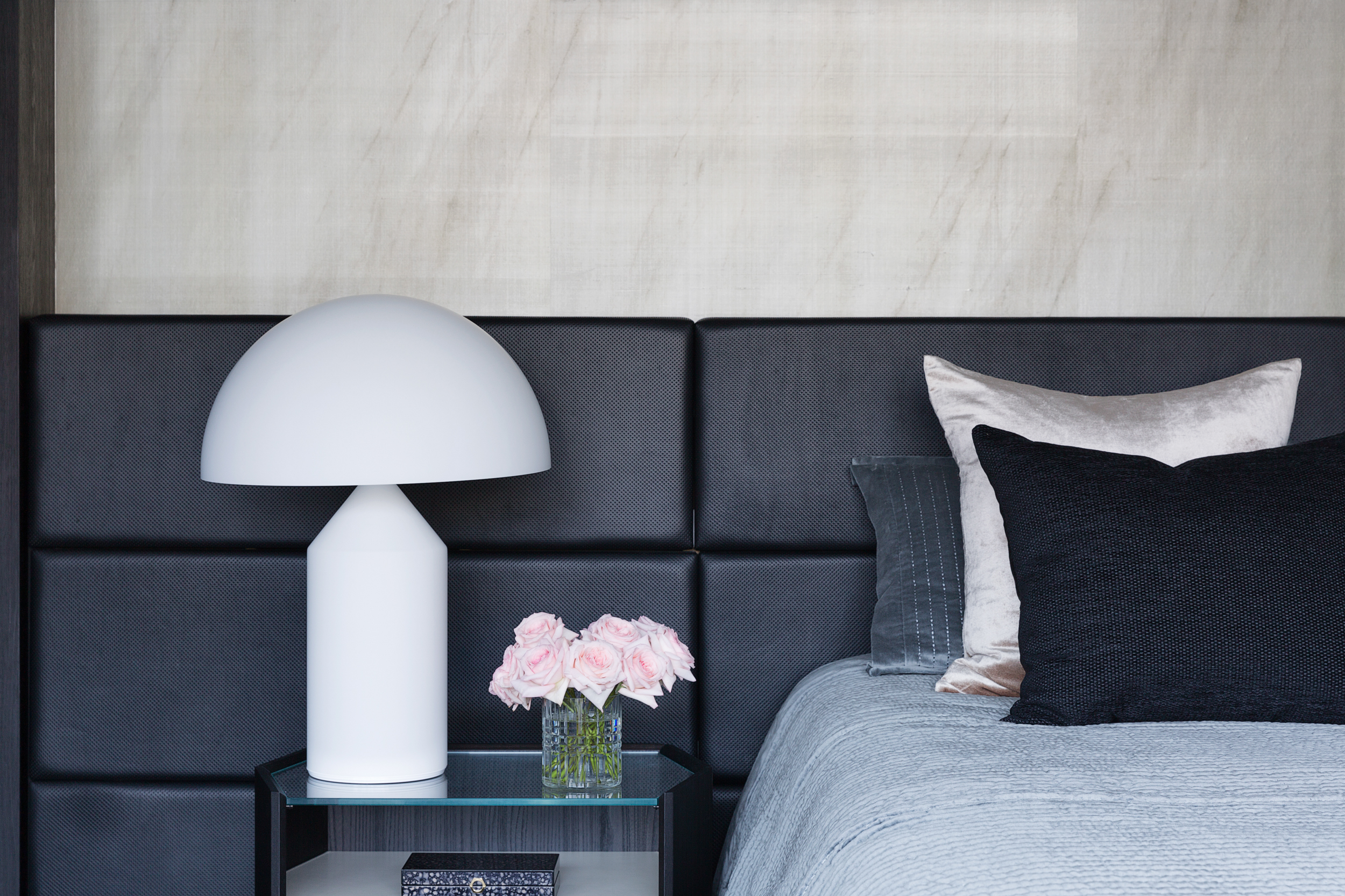 Atollo Lamp by Vico Magistretti lights up our faces and the master suite at our Wharf Crescent project