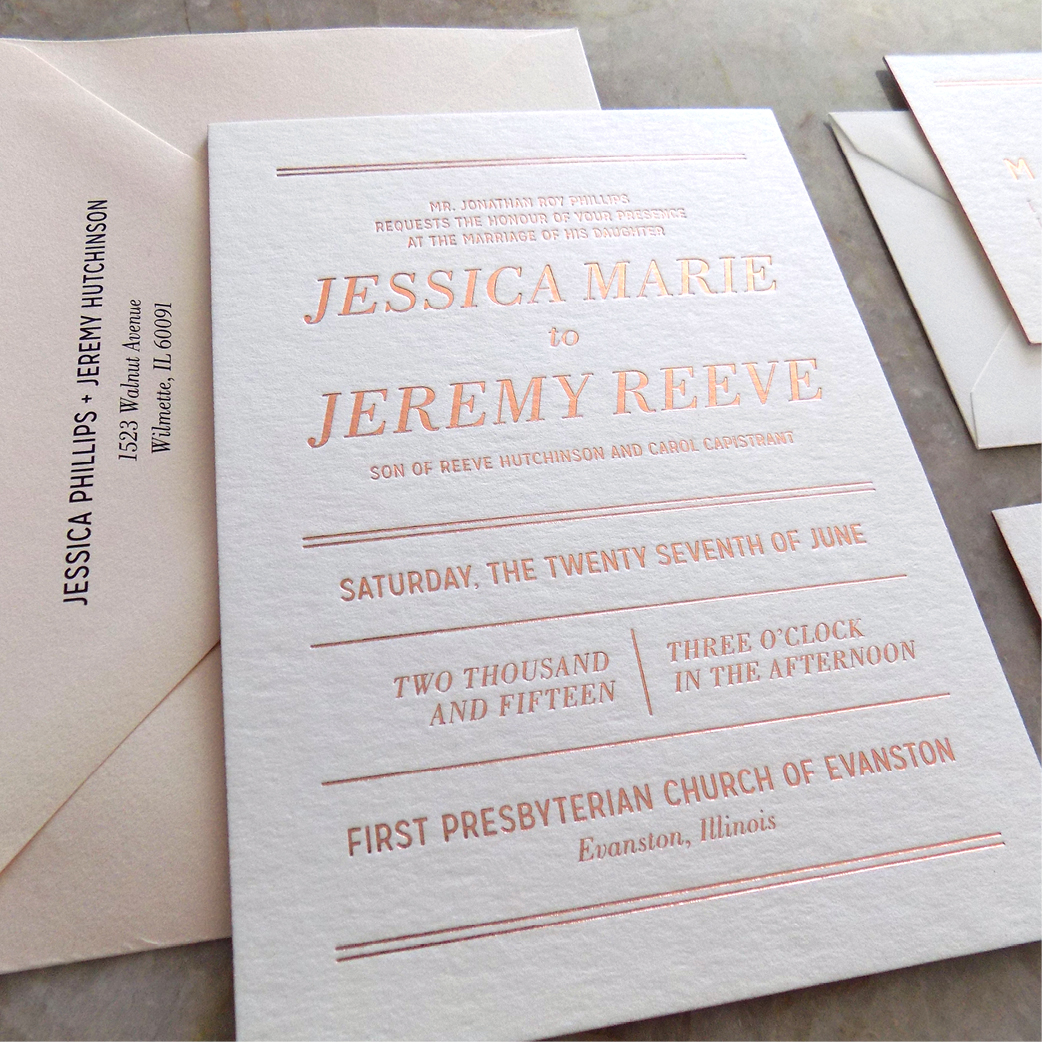 Modern + Romantic Wedding Invitations with Rose Gold Foil by Hello Gypsy | © Hello Gypsy