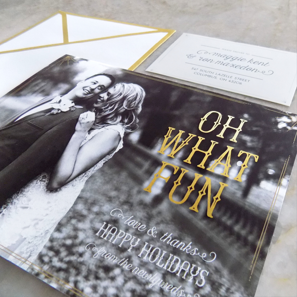 Black + Gold Newlywed's First Holiday Card by Hello Gypsy | © Hello Gypsy